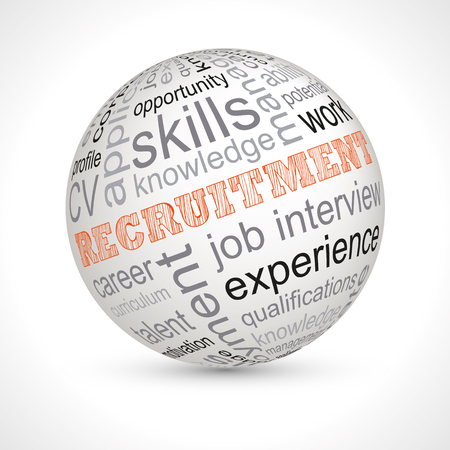 work experience: Recruitment theme sphere with keywords full vector
