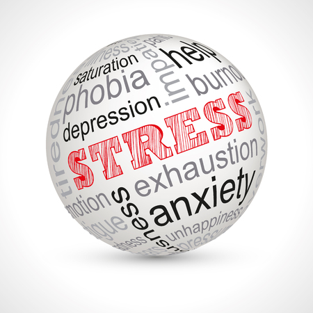 nervousness: Stress theme sphere with keywords full vector