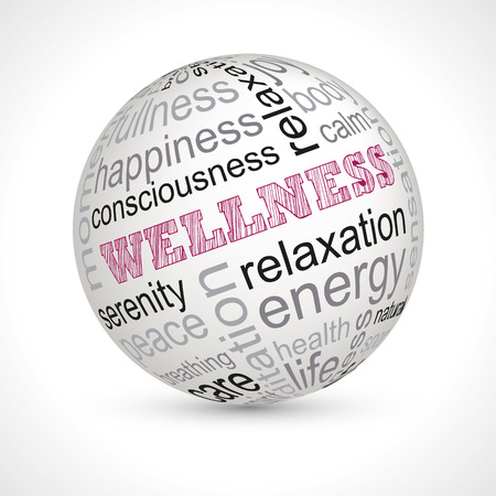 keywords: Wellness theme sphere with keywords full vector