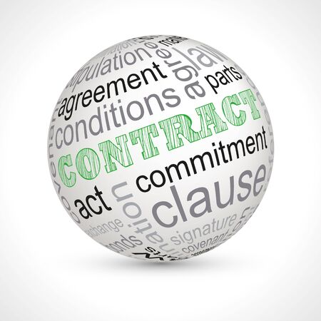 keywords: Contract theme sphere with keywords full vector