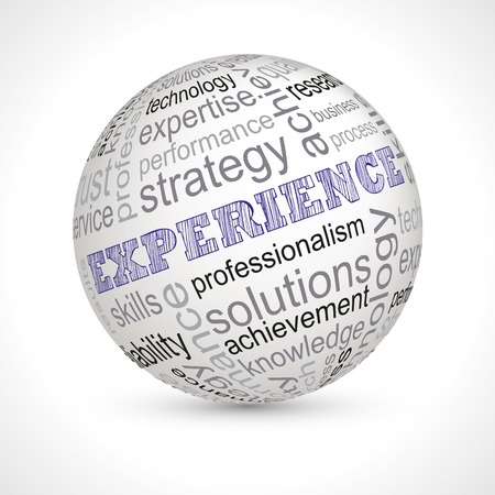 professionalism: Experience theme sphere with keywords full vector