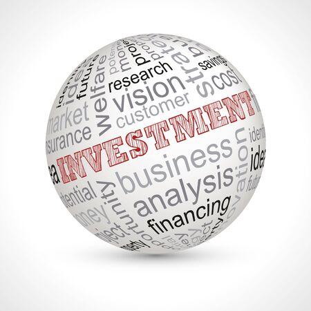 keywords: Investment theme sphere with keywords full vector