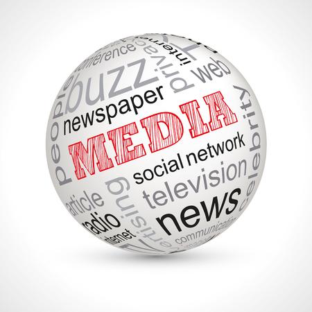 keywords: Media theme sphere with keywords full vector Illustration
