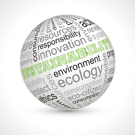Sustainability theme sphere with keywords full vector
