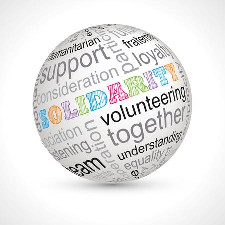 solidaridad: esfera tema de la solidaridad con las palabras clave completa del vector