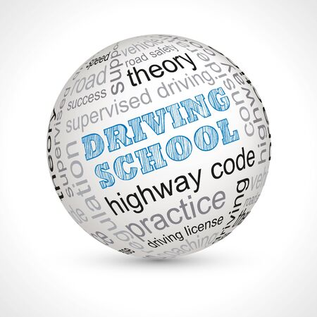 driving school: Driving school theme sphere with keywords full vector