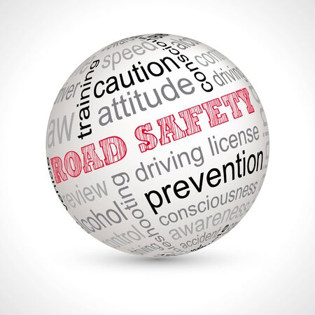 keywords: Road safety theme sphere with keywords full