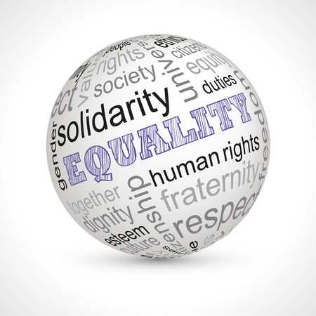 keywords: Equality theme sphere with keywords full  Illustration