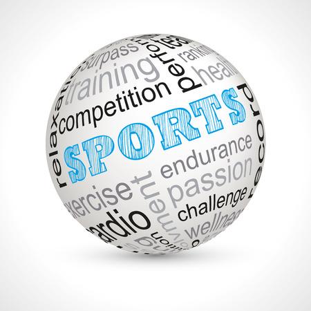 surpass: Sports theme sphere with keywords full  Illustration