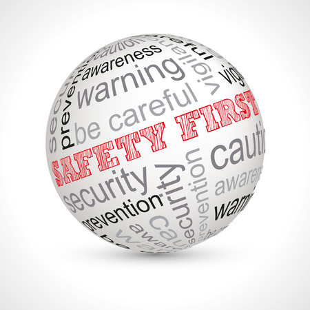 be aware: Safety first theme sphere with keywords full