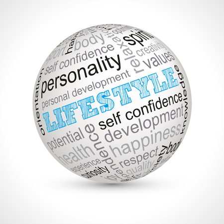 personality development: Lifestyle theme sphere with keywords full  Illustration