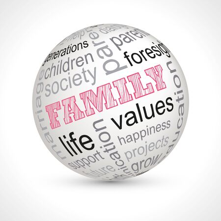 keywords: Family theme sphere with keywords full Illustration