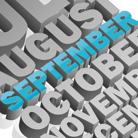 in september: September square composition with full vector elements Illustration