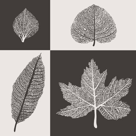 horozontal: Art Lace style autumn leaves illustration background