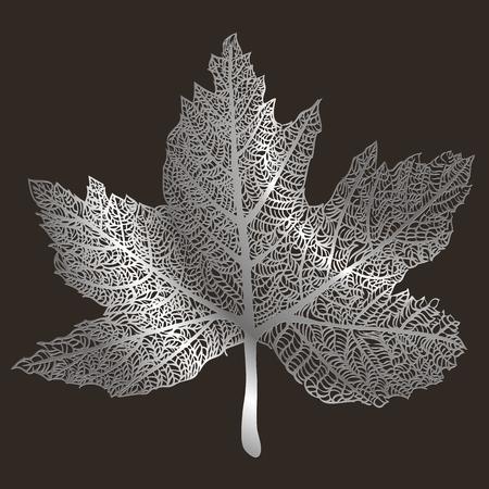 horozontal: Art Lace style autumn leaf illustration background