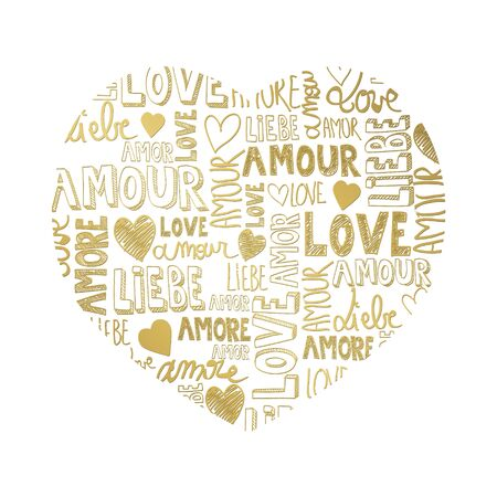 amore: Sweet golden color heart with international love words