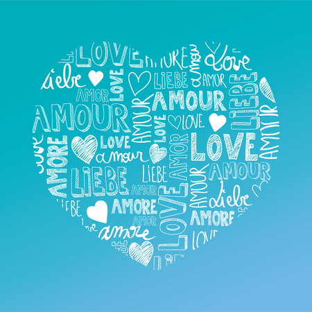 amore: Sweet turquoise color heart with international love words