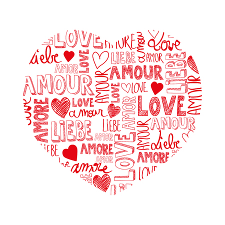amore: Sweet passion red heart with international love words
