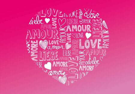 amore: Sweet pink color heart with international love words
