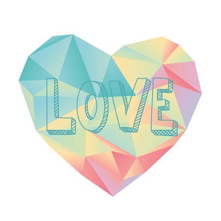 colores pastel: corazón diseño geométrico con colores pastel dulce