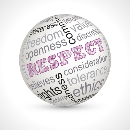 ethics and morals: Respect theme sphere with keywords