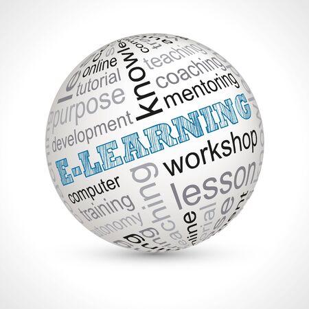 keywords: E learning theme sphere with keywords Illustration