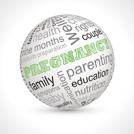 keywords: Pregnancy theme sphere with keywords Illustration