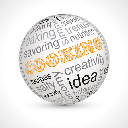 fine dining: Cooking theme sphere with keywords Illustration
