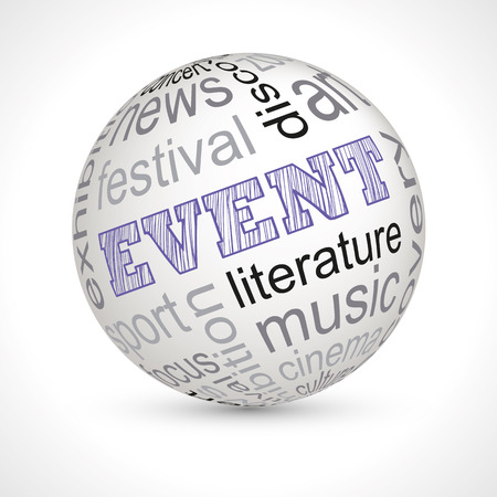 keywords: Event theme sphere with keywords Illustration