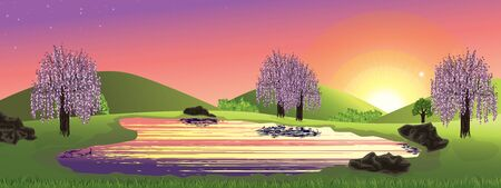 Panoramique paysage de printemps