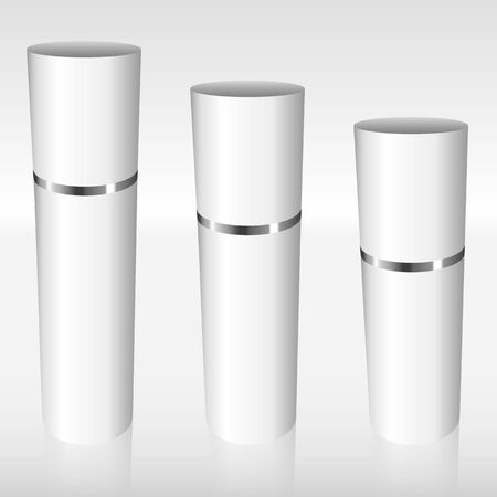 White Airless Bottles with a silver ring full