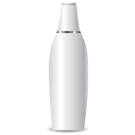 pressure bottle: White Lotion Bottle with a silver ring full vector