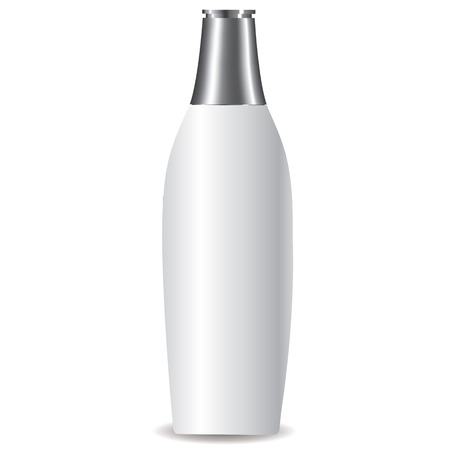 moisturizing: White Lotion Bottle with a silver cap full vector