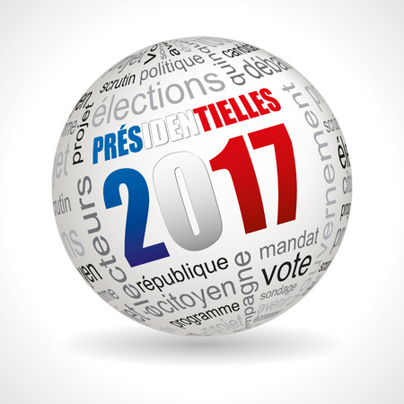 presidential: French presidential election theme sphere with keywords full vector