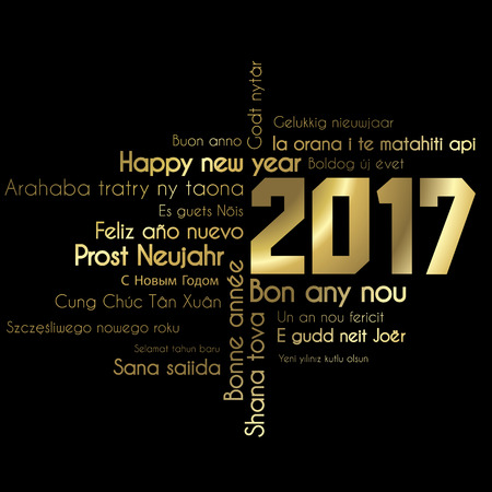 new years eve background: Black and Gold 2017 vector greeting card
