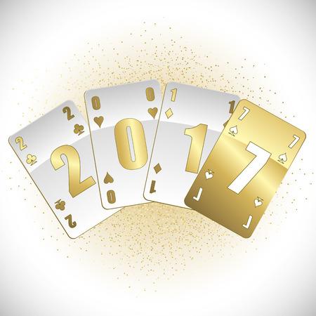 白とゴールド カードにおける 2017 ベクトルします。