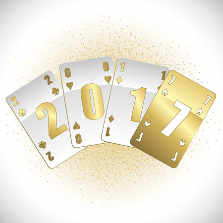 White and gold cards 2017 full vector Illustration