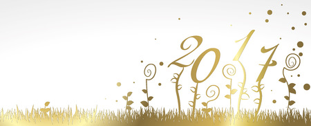 in years: Happy New year 2017 greeting card vector