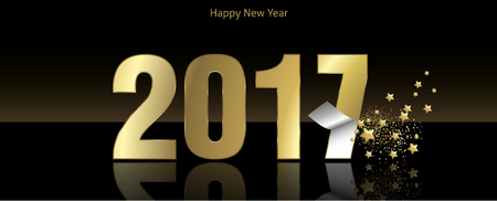 sober: Happy New year 2017 greeting card vector