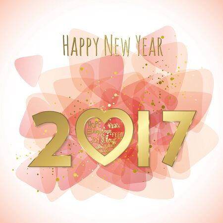 Sweet 2017 greeting card full vector elements