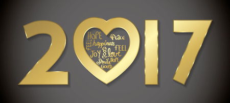 Love 2017 greeting card golden full vector Illustration