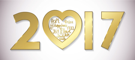 sweet seventeen: Love 2017 greeting card golden full vector Illustration