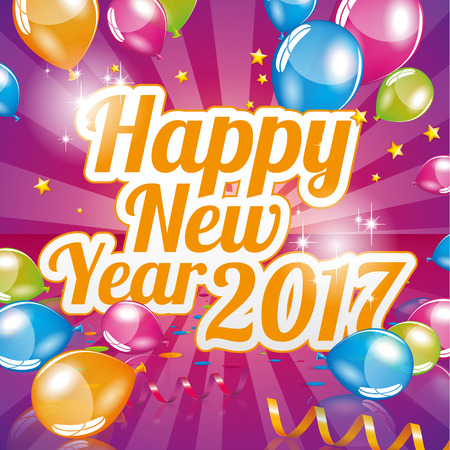 two thousand: Happy New Year 2017 greeting card full vector Illustration