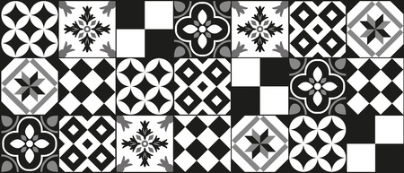 黒と白セメント タイル背景デザイン  イラスト・ベクター素材