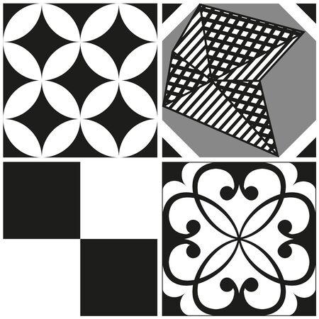 white tile: Black and white cement tile background design