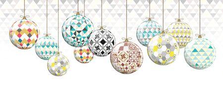 Geometric Christmas Balls full vector greeting card
