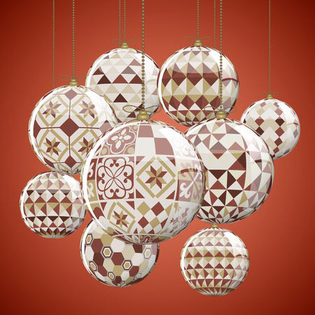 suspend: Geometric Christmas Balls full vector greeting card Illustration