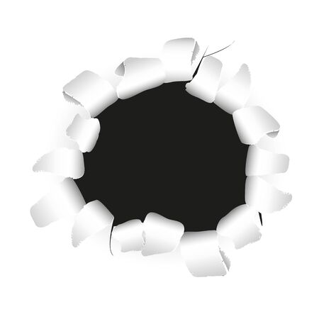 drilled: Ripped paper with black hole full vector background