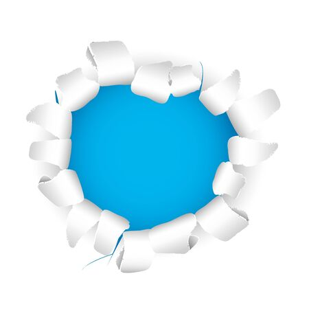 drilled: Ripped paper with blue hole full vector background