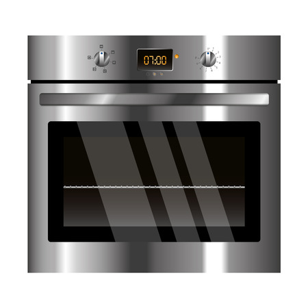 appliance: Vector electric oven silver design kitchen appliance Illustration